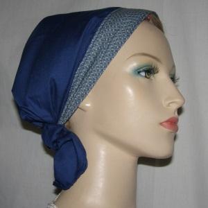Navy Batiste Headband Scarf