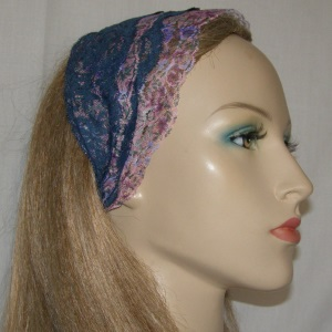 Navy Pastels Floral Lace Sari Head Band