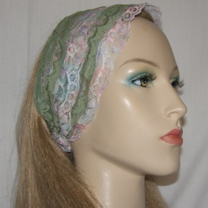 Olive Pastels Floral Lace Sari Head Band