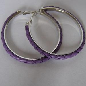 Purple Leather Hoop Earrings