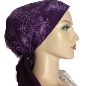 Purple Silk Scarf Design Head Covering