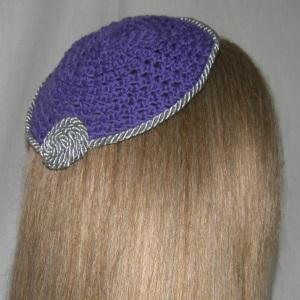 Crochet Silver Cording Trim Kippah