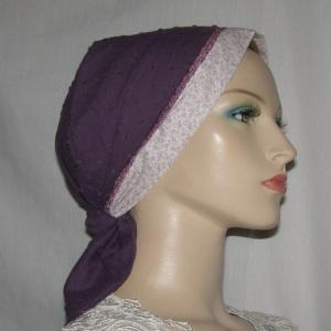 Purple Swiss Dot Headband Scarf