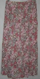 Rose Brown Gray Floral Boho Rayon Skirt
