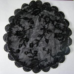 Black Velvet Floral Mapit Doily Style Kippah