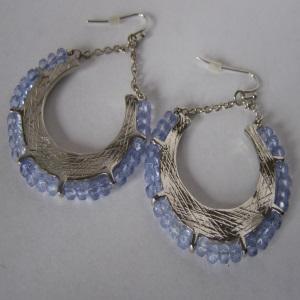 Sky Blue Crystal Hoop Earrings