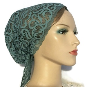 Teal Lace Under Scarf Cap