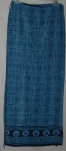 Turquoise Navy Designed Wrap Around Skirt