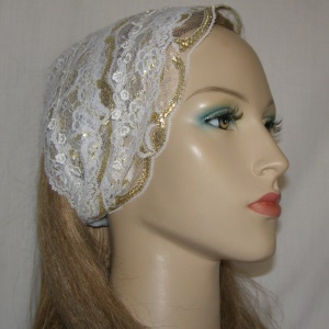 White Gold Lace Venise Trimmed Head Band