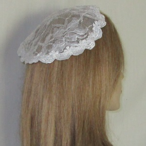 White Embroidery Floral Lace Mapit Doily Style Kippah