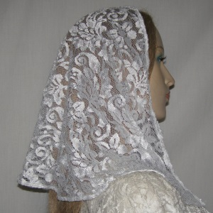 White Sheen Floral Lace Veil