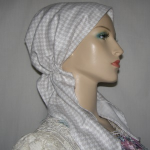White Taupe Design Pre-Tied Scarf Snood